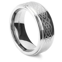 King Will 8mm Silver Mens Tungsten Carbide Ring Laser Celtic Knot Polish Edge Wedding Band Size 7-14 | Amazon.com