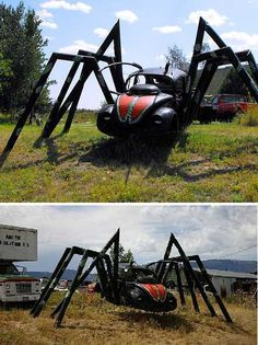 - These 15 spooky spider bugs are each as big as a VW Beetle, which makes perfect sense 'cause that's what they're made from… along with your worst nightmares. Strange Cars, Weird Cars, Crazy Cars, Auto Volkswagen, Cool Bugs, Vw Vintage, Beetle Car, Carson City, Unique Cars