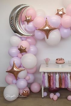 Moon and Star Balloon Garland Kit Purple Pink and Rose Gold Perfect for Over the Moon 038 T Moon and Star Balloon Garland Kit Purple Pink and Rose Gold Perfect for Over the Moon 038 T Jermain nbsp hellip Baby Shower Purple, Baby Girl Shower Themes, Girl Baby Shower Decorations, Baby Shower Parties, Birthday Decorations, Gold Decorations, Baby Shower Balloons, Birthday Ideas, Star Baby Showers