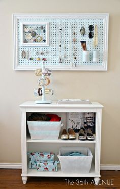 Jewelry storage using pegboard (could cover with fabric) and other DIY Peg board projects