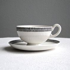 Upsala Ekeby Ceramic Teacup and Saucer - Swedish Modern Ceramic