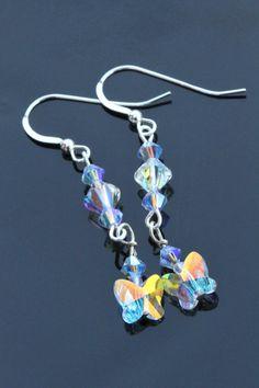 Long Swarovski Crystal butterfly earrings by AngelaSmithJewellery, £15.00