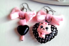 Kawaii cat mismatched earrings black pink by DinaFragola on Etsy