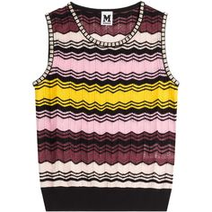 M Missoni Knitted Crochet Vest ($200) ❤ liked on Polyvore featuring outerwear, vests, multicolor, crochet vest, vest waistcoat, m missoni, colorful vest and slim vest