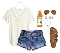 """""""first set with Birkenstocks, what do you think?"""" by fashion-loveerr ❤ liked on Polyvore featuring Birkenstock, H&M, Abercrombie & Fitch, Kendra Scott, Honora and Ray-Ban"""