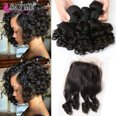 Indian Virgin Hair Loose Wave Bundles With Closure Short Bob Weave Curly Hair 3 Bundles With Lace Closure Aunty Fumi Bouncy 1B#