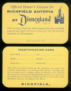 Your first Disneyland Autopia license.