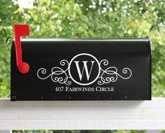 Swirly Monogram Mailbox Address Vinyl Decal