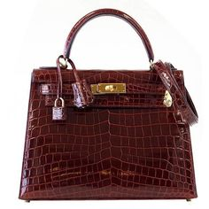 HERMES KELLY 28 Bag Bourgogne Crocodile Gold Hardware ($73,140) ❤ liked on Polyvore featuring bags, handbags, croc embossed handbags, hermes handbags, red crocodile handbag, red handbags and holiday purse