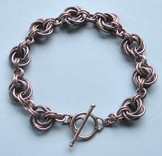 Copper Chainmaille Bracelet  Copper Mobius Flower by OmiSilver