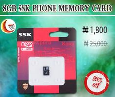 #BiggestDiscountOffer at Blessing Computers Limited.Get 93% Off on 8GB SSk #PhoneMemoryCard. Buy online here!! http://www.blessingcomputers.com/products/TJMNWHAHXX-8GB-SSk-Phone-Memory-Card.html