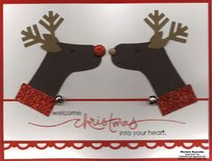 Reindeer using upside down stockings with snowflake antlers... So cute!! =)