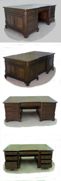 Antiques: Large Flame Mahogany Executive Desk **Wow** -> BUY IT NOW ONLY: $2685 on eBay!