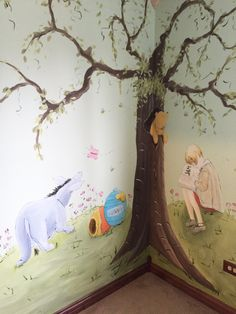 Adorable classic Winnie the Pooh mural (with modern Tigger), painted in private residence in New Lenox, IL - by Debbie Cerone. This classic nursery will last many years and will be used as 'the Pooh nursery', as each child in the family is born. Nursery Murals, Nursery Paintings, Mural Painting, Nursery Room, Girl Nursery, Baby Room, Nursery Decor, Winnie The Pooh Decor, Winnie The Pooh Nursery