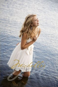 Fun white dress in the water, great portrait!