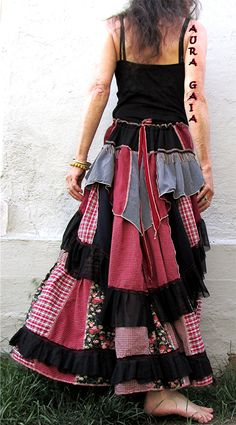 AuraGaia ~Monarda~ Poorgirls BoHo Bustleback Ruffled Long Upcycled Skirt XS-L