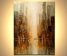 "ORIGINAL Downtown Painting Modern Acrylic Palette Knife Abstract Painting The City by Osnat 40"" x 30"" Large"