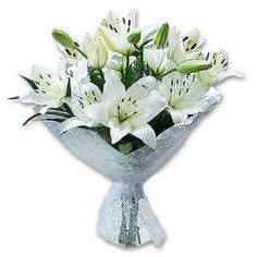 winter wedding bouquet of white lily
