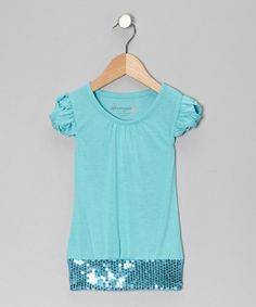 Take a look at this Turquoise Sequin Top - Toddler & Girls by Dreamstar on #zulily today!