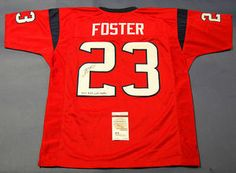 """$199.44 Autographed Arian Foster Authentic Style Custom Houston Texans Jersey. Arian added the great inscription """"Don't Mess with Texas"""" and """"23"""" for his jersey number. It comes with a JSA Authentication, matching COA, and is guaranteed authentic. In 2010, Arian led the NFL in rushing by over 150 yards! This is the ultimate birthday/anniversary gift to give a sports fan! This stunning signed jersey is now ready to be displayed in your sports room! An absolute must for all Texans fans!"""