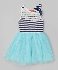 Another great find on #zulily! Blue Stripe Lace Tutu Dress - Toddler & Girls #zulilyfinds
