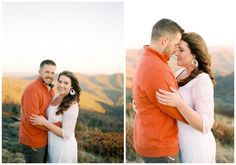 Roan Mountain engagement pictures, film photography, portra 400, couples posing ideas, mountain engagement session, navy engagement outfits, white lace dress engagement outfit, fall engagement pictures