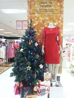 Red lace and gold glitter dress to impress Beales keighley at Christmas
