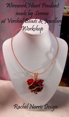 Wirework heart Pendant made by Serena, during Verchiel Beads and jewellery workshop.  Rachel Norris inspired Design.