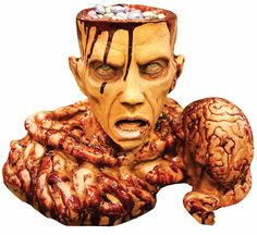 Candy Dish Prop Halloween Zombie Brain Bowl Party Supplies Dead Tray Bloody Head