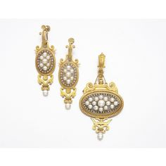 GOLD, PEARL & DIAMOND PENDANT-BROOCH AND EARCLIPS   Lot   Sotheby's