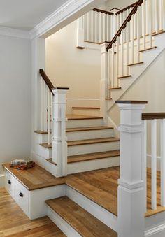 Sherwin Williams Creamy   Stonewall Farmhouse traditional staircase