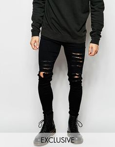 Reclaimed Vintage Super Skinny Jeans With Extreme Distressing