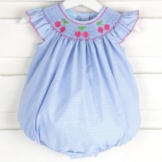 da282d28f77 Smocked Cherry Bubble Light Blue Stripe. Smocked Auctions