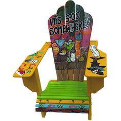 Custom-made Jimmy Buffett Margaritaville Adirondack Chair Painted Chairs, Painted Furniture, Diy Furniture, Jimmy Buffett Margaritaville, Margaritaville Store, Outside Bars, Tiki Lounge, My Pool, Tropical Art