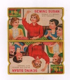Vintage 1960's Sewing Susan Gold Eye Needle Book Vintage Advertising