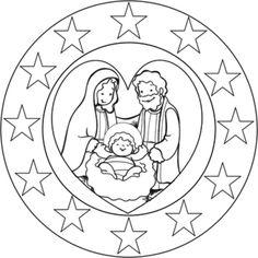 Spiritual Mandalas to color - Bing Images Diy Christmas Garland, Christmas Nativity, Christmas Crafts For Kids, Christmas Colors, Christmas Themes, Catholic Crafts, Church Crafts, Christmas Coloring Pages, Coloring Book Pages