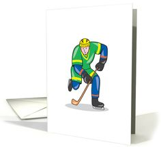 Ice Hockey Player With Stick Cartoon card. Personalize any greeting card for no additional cost! Cards are shipped the Next Business Day. Product ID: 1327622