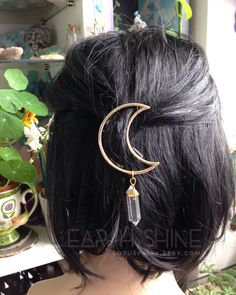GOLD Moon Crystal hair clip, The ORIGINAL crystal Moon hair clip, crescent hair barrette with gemstone dangle (original design) by lotusfairy on Etsy https://www.etsy.com/listing/257234745/gold-moon-crystal-hair-clip-the-original