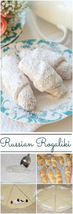These Russian Rugalech (rogaliki) bite-sized cookies are going to become a favorite. Crunchy, flaky and soft dough with a meringue filling and dried fruit. Cookie Recipes, Dessert Recipes, Desserts, Rugelach Recipe, Russian Pastries, Russian Recipes, Slovak Recipes, Russian Dishes, Russian Foods