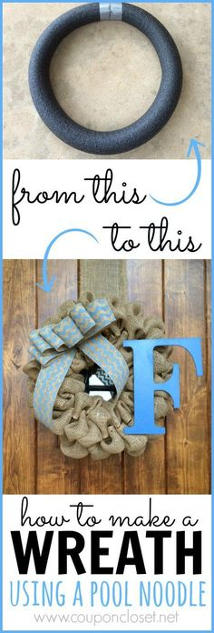 Save money by making your own wreath form by using an old pool noodle! How to make pool noodle wreath.