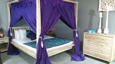 Balinese Four Poster Bed Canopy Curtain Mosquito Net 155cmx205cm Purple Queen