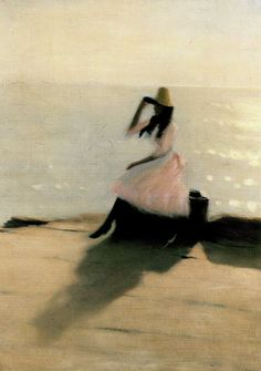 "benita-loca: "" Philip Wilson Steer ""Young woman on the beach"" Oil on canvas "" Art Et Illustration, Illustrations, Morgana Le Fay, All Nature, Art Moderne, Love Art, Female Art, Strand, Painting & Drawing"