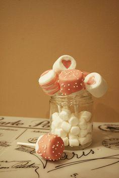assorted chocolate marshmallow pops Chocolate Marshmallows, Marshmallow Pops, Jar, Decor, Ice Cream, Decoration, Jars, Decorating, Deco