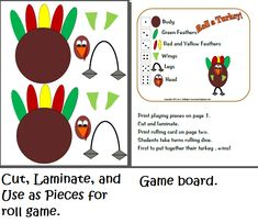 for the little ones -- roll a number cube to win parts of a turkey or snowman
