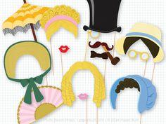 Jane Austin Photo Booth Props, Victorian Photobooth Props, Old Timey Portrait, Romantic Novel, Victorian Era, Top Hat, Jane Austen Party by PaperBuiltShop on Etsy https://www.etsy.com/listing/206725449/jane-austin-photo-booth-props-victorian