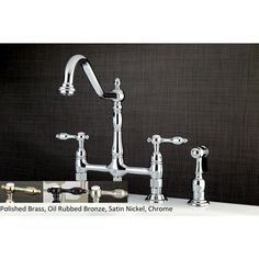 Victorian High Spout Lever-Handles Bridge Kitchen Faucet with Side Sprayer | Overstock.com Shopping - The Best Deals on Kitchen Faucets