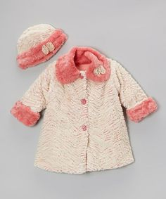 Take a look at this Coral Wave Faux Fur Sweet Pea Coat & Hat - Girls by Corky & Company on #zulily today!