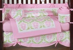 LIME GREEN AND PINK DAMASK BABY BEDDING CRIB SET FOR NEWBORN GIRL BY JOJO DESIGN