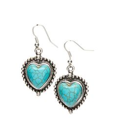 Love this Turquoise Heart Drop Earrings on #zulily! #zulilyfinds