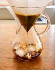 A double-strength hot pour-over, with coffee directly over ice to dilute it